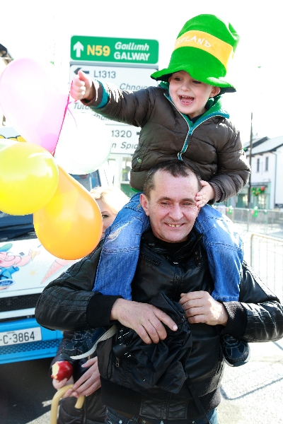 Moycullen's St Patrick's Day Parade 2013 - one happy youngster enjoying the parade