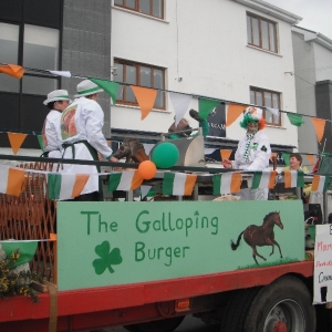Moycullen\'s St. Patrick\'s Day Parade 2013 - the Galloping Burger float