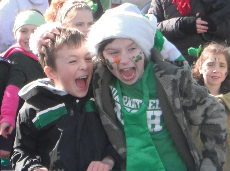 Moycullen's St. Patrick's Day Parade 2013 - two happy kids in the crowd