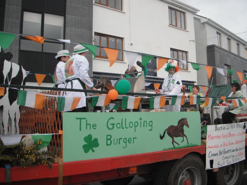 Moycullen's St. Patrick's Day Parade 2013 - the Galloping Burger float