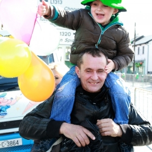 Moycullen\'s St Patrick\'s Day Parade 2013 - one happy youngster enjoying the parade