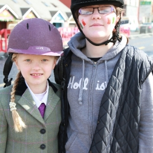 Moycullen\'s St. Patrick\'s Day Parade 2013 - two young girls from the riding school at Moycullen