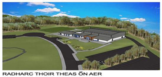 Moycullen's new community centre 3D image - Radharc Thoir Theas on Aer - South East Aerial View