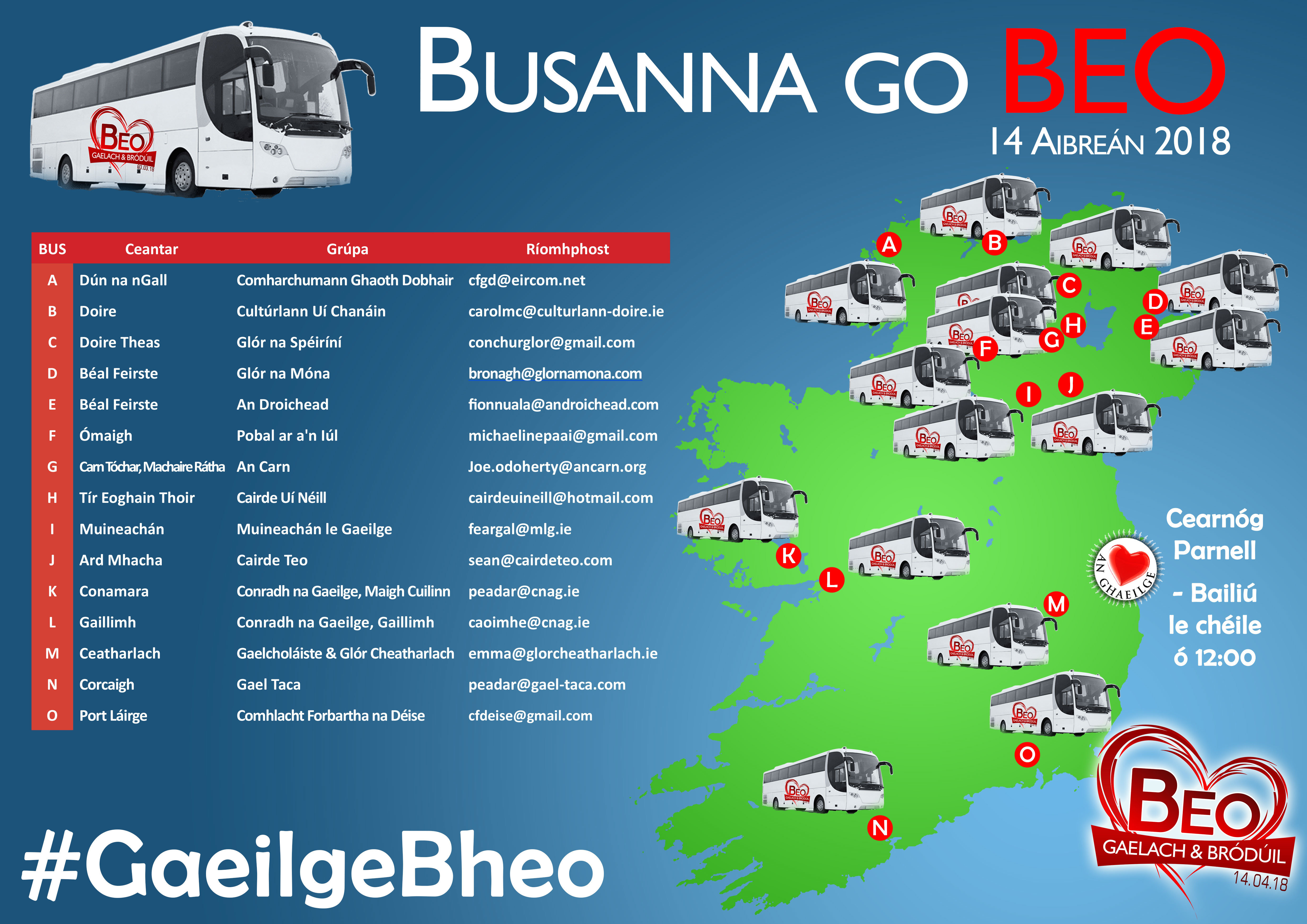 Bus to Beo in Dublin from Moycullen