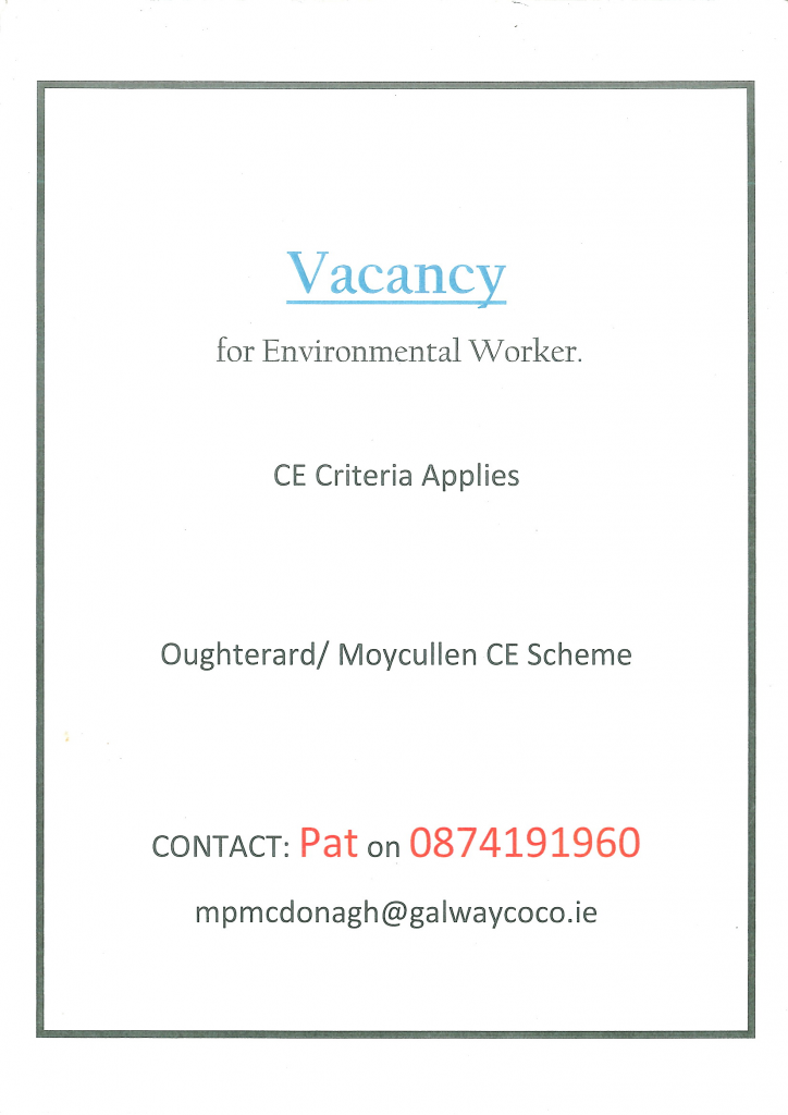 Community Employment evironmental worker wanted for Moycullen and Oughterard