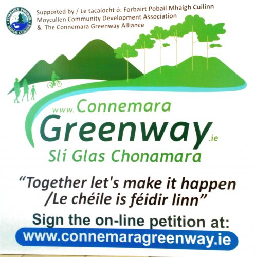 Show your support for the Greenway - March behind this banner at the St.Patrick's Day Parade Moycullen 2019