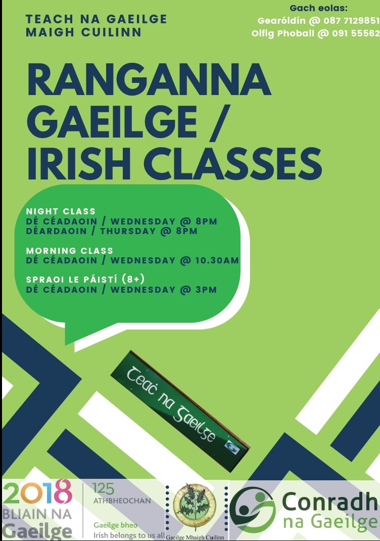 Irish lessons at Teach na Gaeilge Moycullen. First lesson free! To book your place contact Geraldine at 087 7129851 / 091 555562