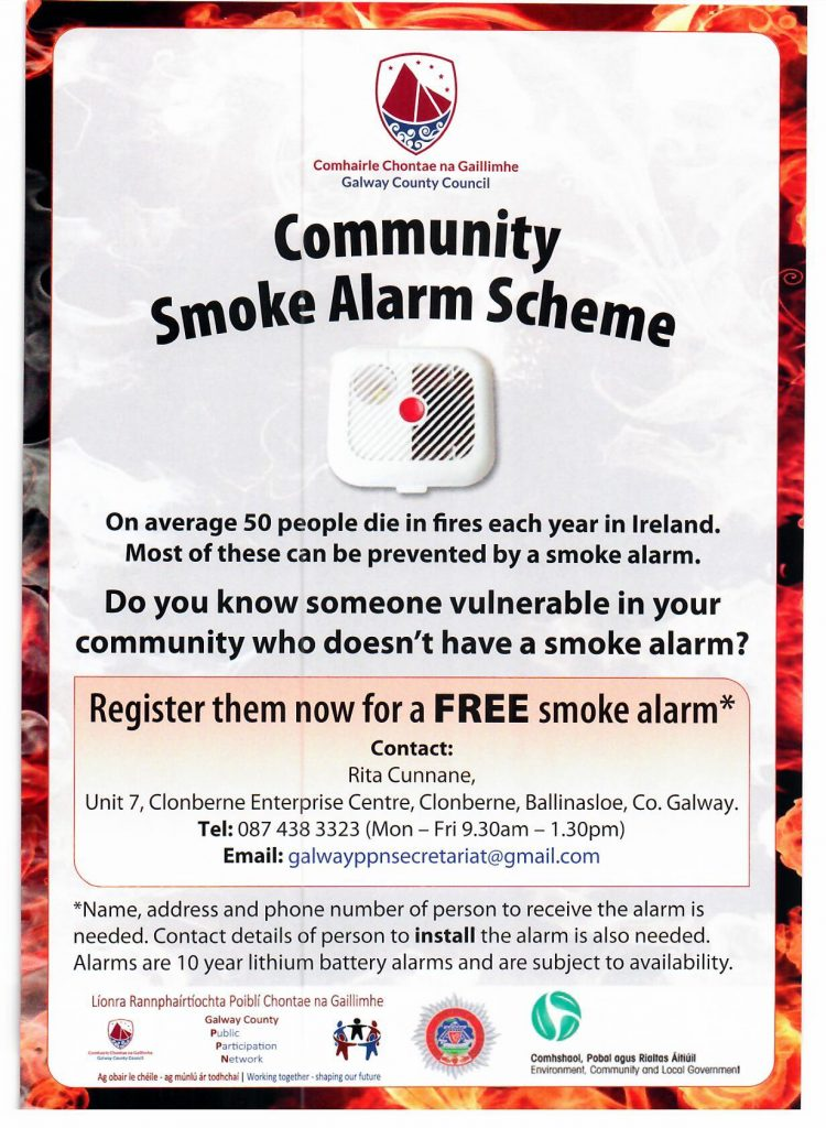Free smoke alarms for people in Moycullen