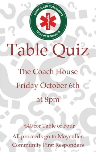 Table Quiz in aid of Moycullen Community First Responders