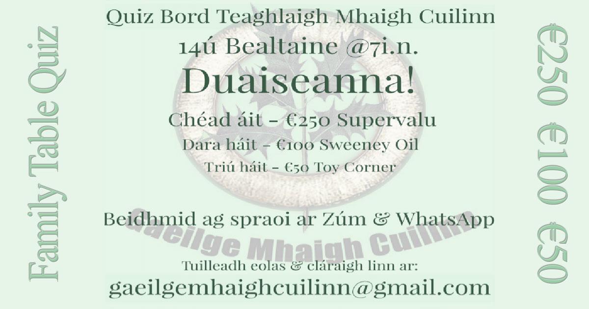 Quiz Bord Teaghlaigh Mhaigh Cuilinn